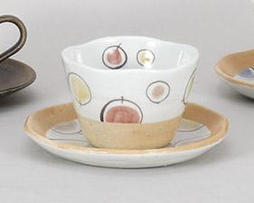コーヒーカップソーサー 風船ピンク 陶器 和食器 業務用食器 商品番号:5a801-67-68
