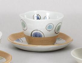 コーヒーカップソーサー 風船ブルー 陶器 和食器 業務用食器 商品番号:5a801-69-70