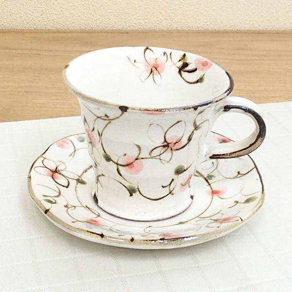 コーヒーカップソーサー 粉引ピンク 陶器 和食器 業務用食器 商品番号:6a14-52