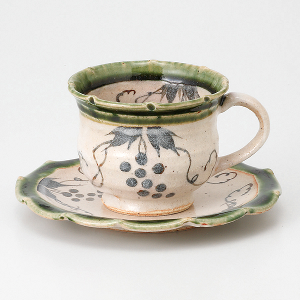 コーヒーカップソーサー 織部 葡萄紋 陶器 和食器 業務用食器 商品番号:6a25-54