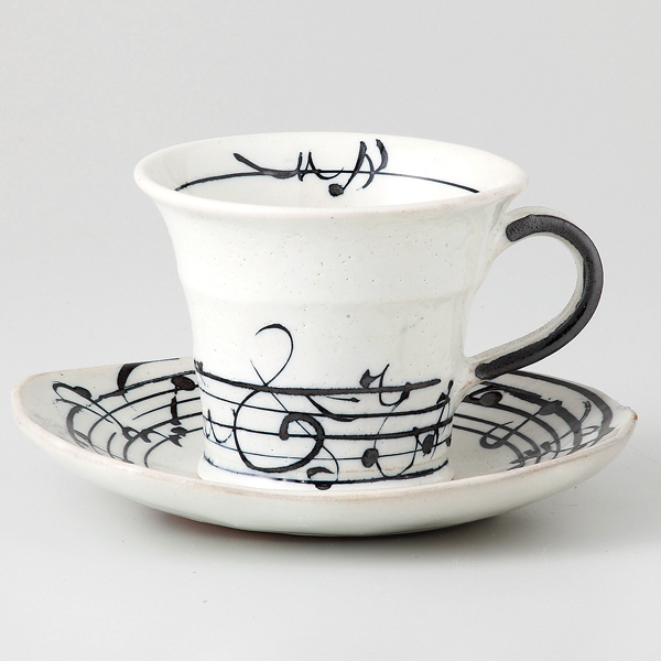 コーヒーカップソーサー メロディー 陶器 和食器 業務用食器 商品番号:6a26-52