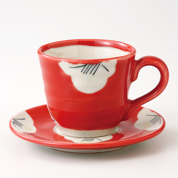 コーヒーカップソーサー 椿絵 陶器 和食器 業務用食器 商品番号:6a26-53