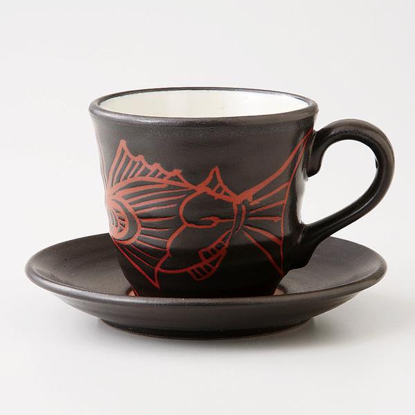 コーヒーカップソーサー いぶし黒 魚 陶器 和食器 業務用食器 商品番号:6a26-56