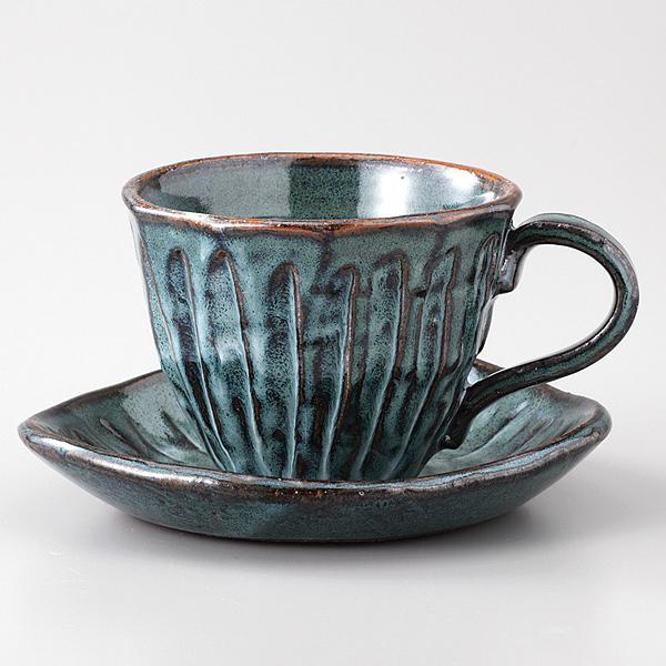 コーヒーカップソーサー 青均窯 そぎ十草 陶器 和食器 業務用食器 商品番号:6a29-57
