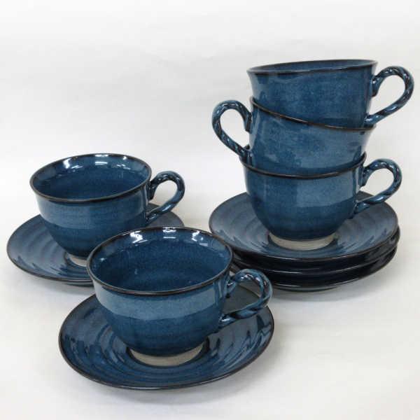 コーヒーカップソーサー 5客セット 縄手ナマコ 陶器 和食器 業務用食器 商品番号:6d67115-407s