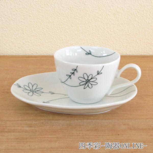 コーヒーカップ ソーサー フラワーライン 黒 陶器 和食器 業務用食器 商品番号:9a774-66-36g