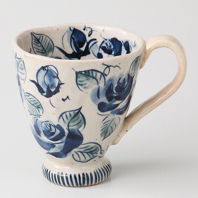 マグカップ バラ園 青