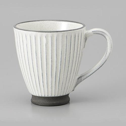 マグカップ 黒土化粧 しのぎ マグ ホワイト