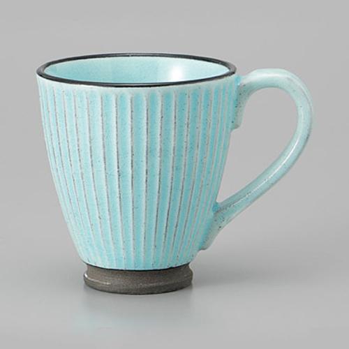 マグカップ 黒土化粧 しのぎ マグ ブルー