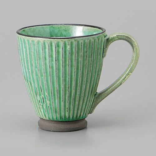 マグカップ 黒土化粧 しのぎ マグ グリーン