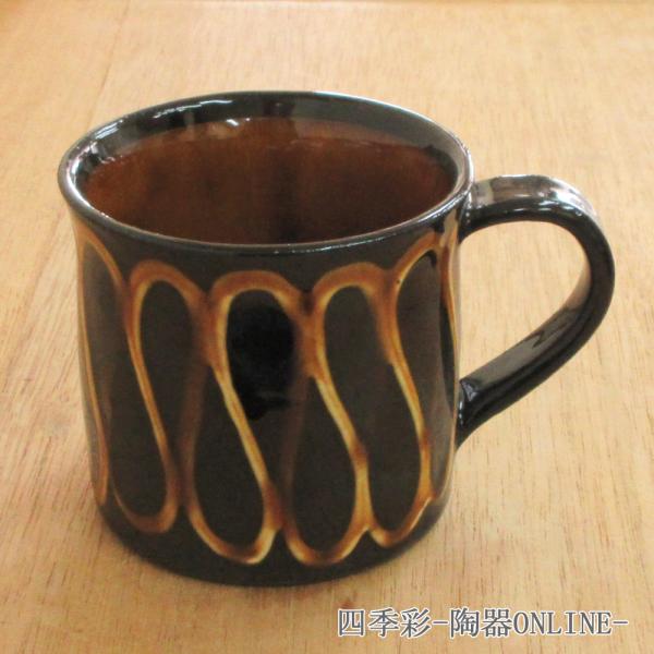 マグカップ スリップウェアマグカップ アメ 陶器 業務用 商品番号:9a780-4-33g