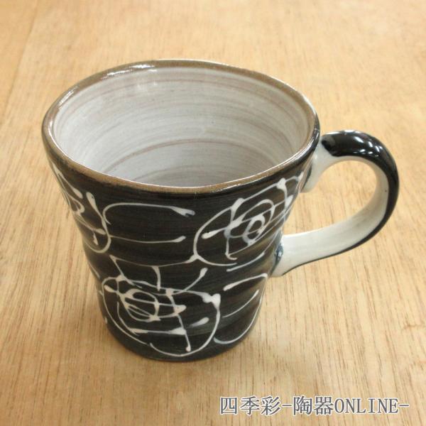 マグカップ 黒化粧土一珍バラマグ 陶器 業務用 商品番号:9a783-15-32g