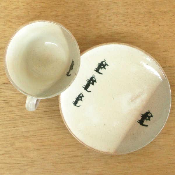 コーヒーカップソーサー 黒ねこ