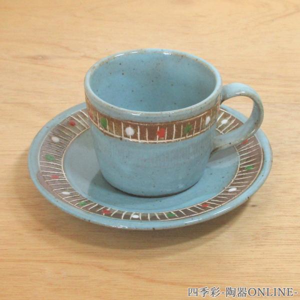 コーヒーカップソーサー 象嵌