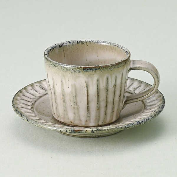 コーヒーカップソーサー 黒乳しのぎ