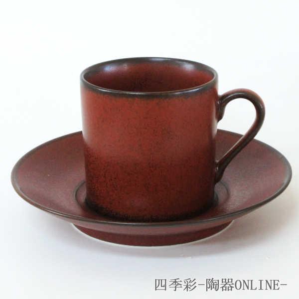 コーヒーカップソーサー 赤釉ロマン