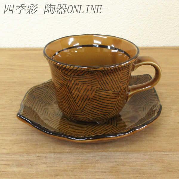 コーヒーカップソーサー アメ十草 陶器 和食器 業務用食器 商品番号:9d72987-318