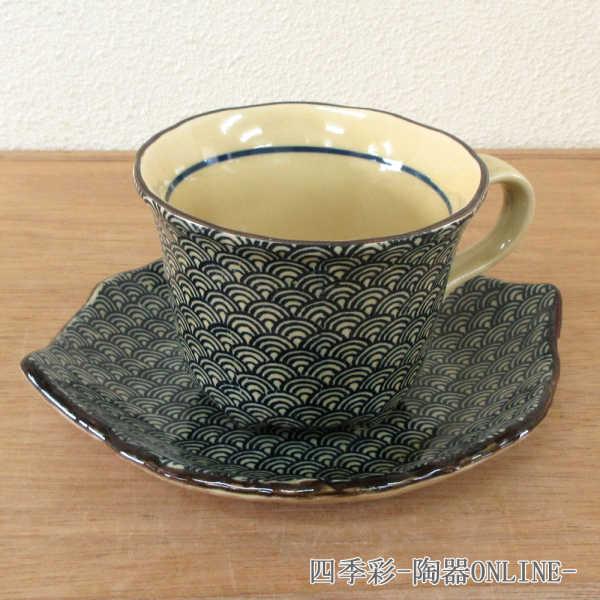 コーヒーカップソーサー 青海波 陶器 和食器 業務用食器 商品番号:9d73021-028
