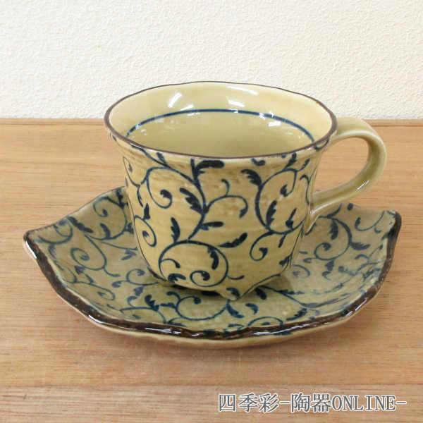 コーヒーカップソーサー つる草 陶器 和食器 業務用食器 商品番号:9d73024-408