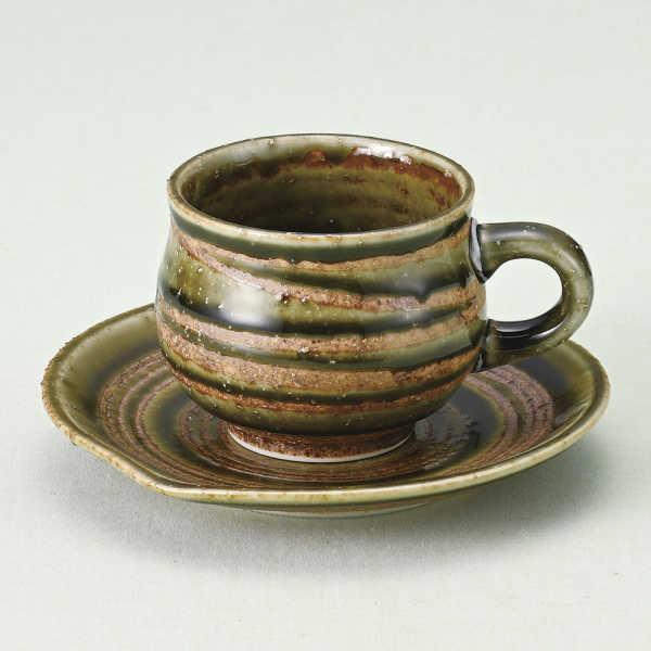 コーヒーカップ ソーサー 織部ライン