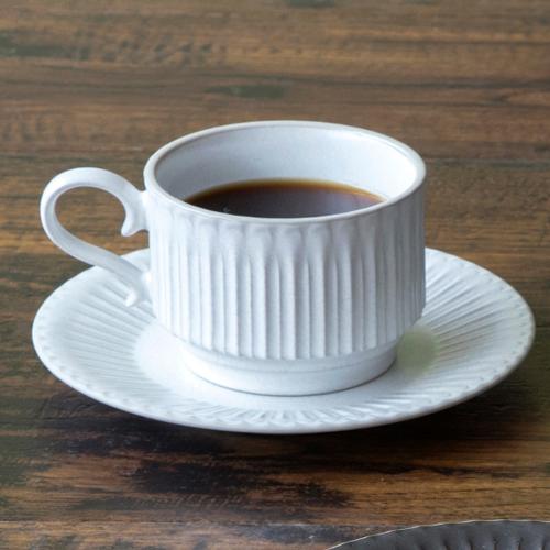 コーヒーカップ ソーサー スタック ラスティックホワイト ストーリア
