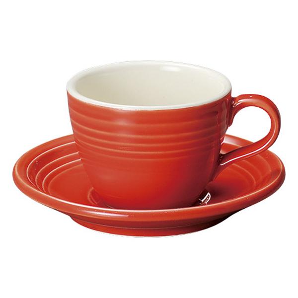 コーヒーカップソーサー レッド オービット
