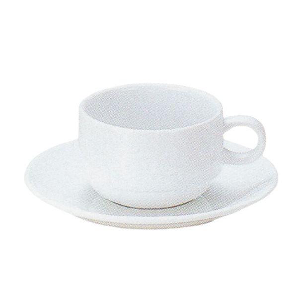 アメリカンコーヒーカップソーサー 白 プラージュ スタック 洋食器 業務用食器 商品番号:k380051-700055