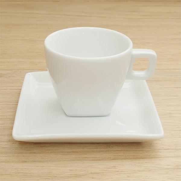 エスプレッソカップソーサー 白 スクエアー ピュアホワイト 洋食器 業務用食器 商品番号:k490058-490059