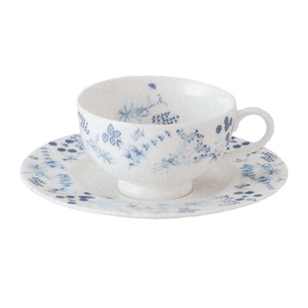 ティーカップソーサー 白 Shinzi Katoh Blue Herbブルーハーブ 洋食器 業務用食器 STUDIO014 商品番号:sbh-105-106