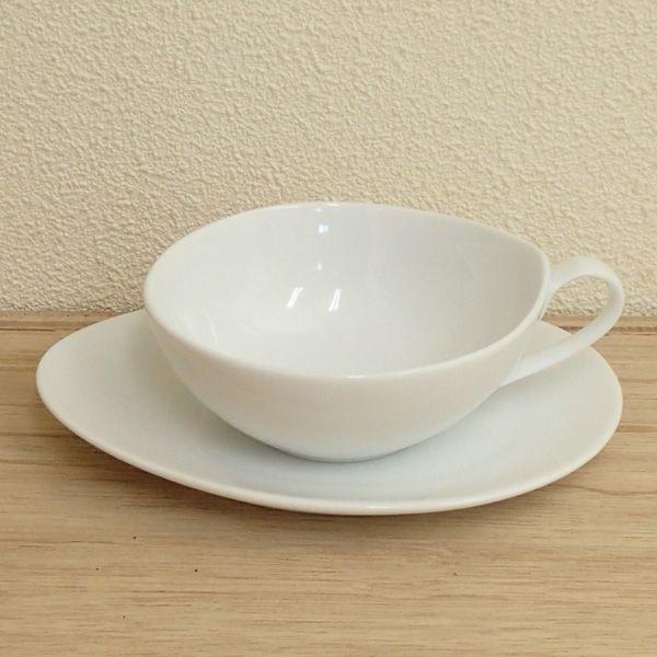ティーカップソーサー 白 Crecent?Vクレセント 洋食器 業務用食器 STUDIO012 商品番号:scc-308-309