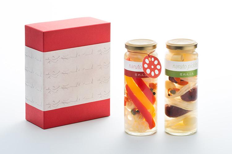 【徳島県|通販|ギフト】鳴門ピクルス 花れんこんと薬膳風味2本セット|風呂敷包み