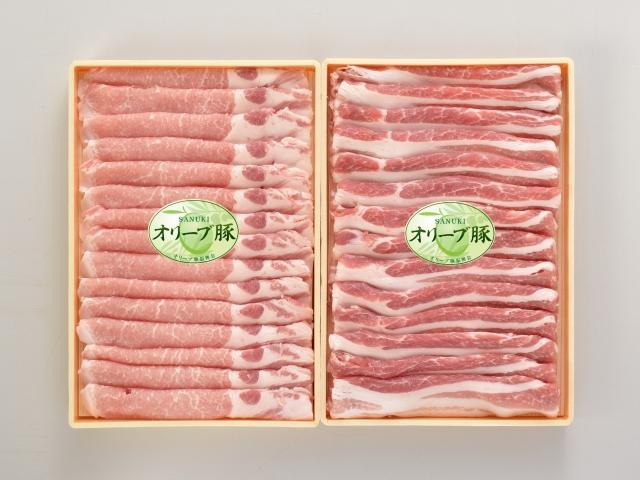【香川県】オリーブ豚しゃぶしゃぶ用スライス肉(モモ300g&バラ300g)【産地直送・同梱不可】