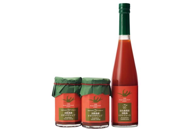 【お中元・夏ギフト/送料無料】完熟トマト100% 自社農園産の淡路島産トマトジュースと 濃厚淡路島産トマトケチャップ2個セット