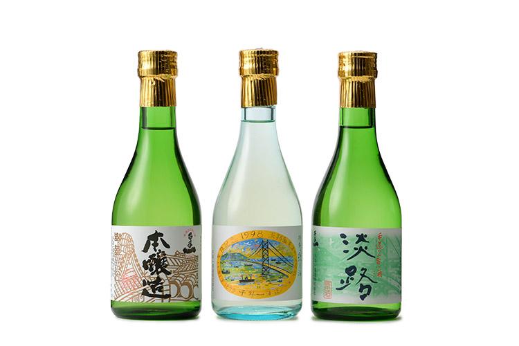 【千年一酒造・銘酒セット】本醸造・特別純米酒・原酒淡路 3本セット枡付き(各300ml)