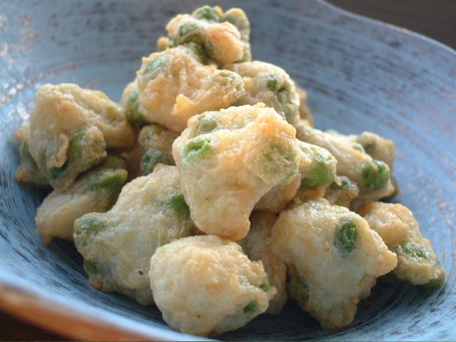 旬の天ぷらえんどう豆