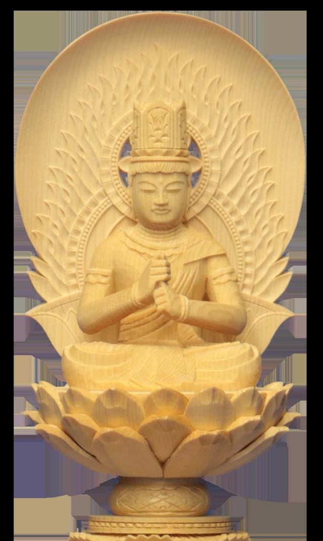 【送料無料】真言宗 仏壇ご本尊 木彫仏像 円光背 座像 六角台座【真言宗 大日如来 白木1.8寸~3.0寸】
