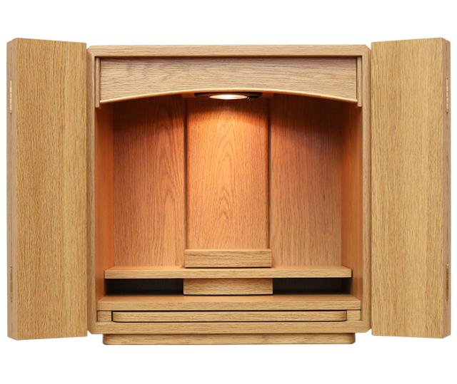 【送料無料】シンプルで設置しやすい明るい色味 ミニ仏壇【14号 ニーク ライト】