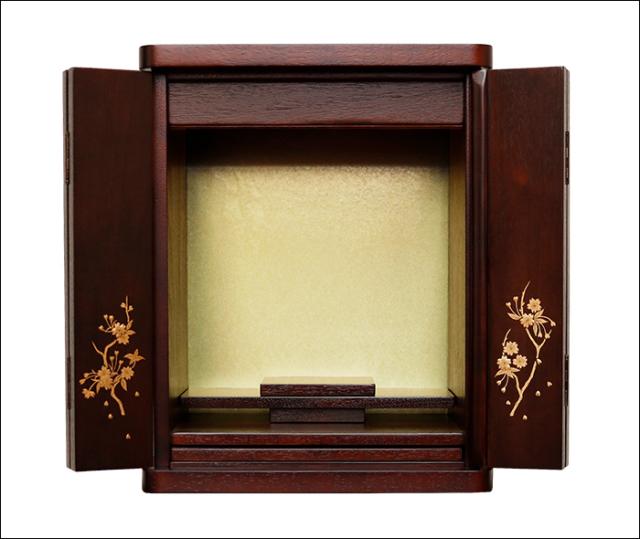 【送料無料】手描き蒔絵入り シンプルで設置しやすい 小さいミニ仏壇【14号 ブロッサム紫檀色(仏具なし)】