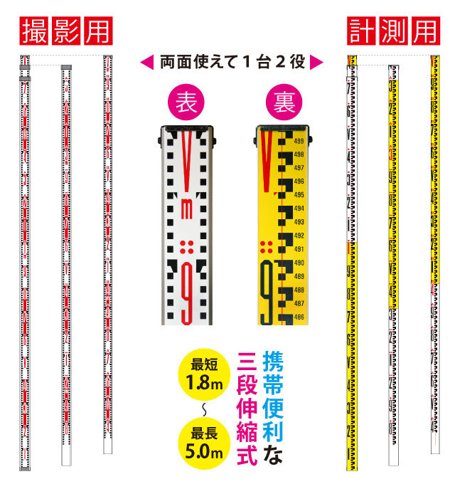 アルミロッドスタッフ 5m(3段伸縮式)