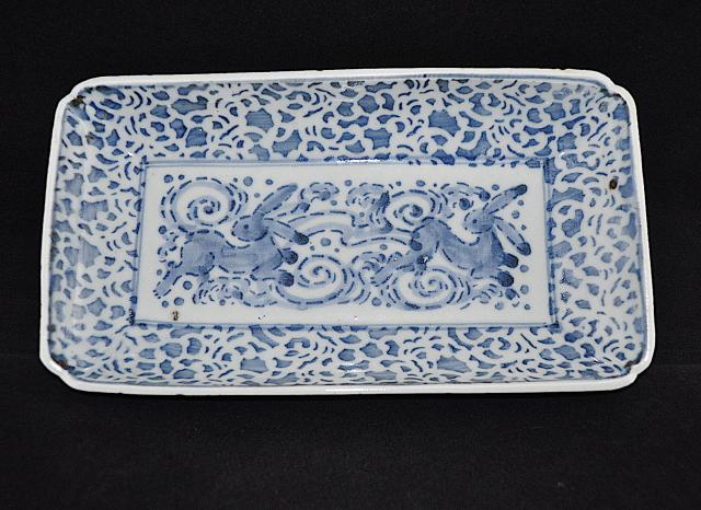 古印判波兎図長皿