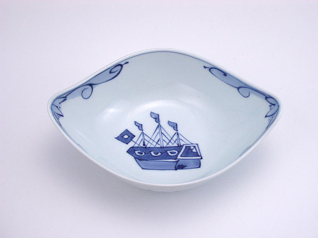 有田焼 青花 オランダ船舟型小付