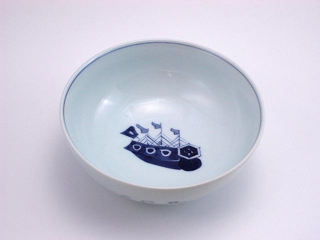 有田焼 青花 オランダ船4寸ボール