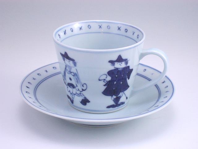 有田焼 青花 五人異人そば型コーヒー碗皿