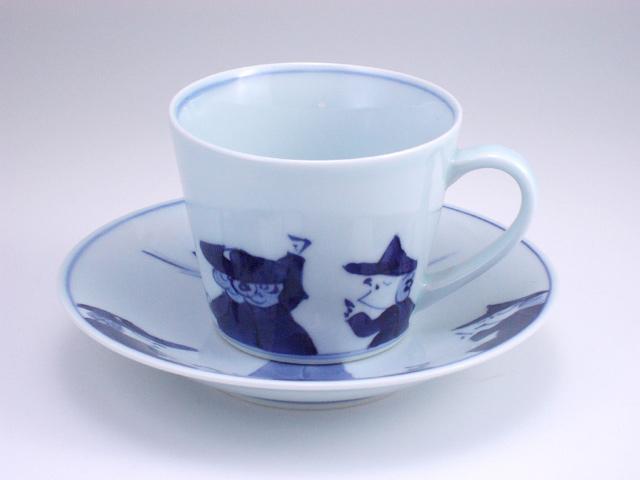 有田焼 青花 異人群そば型コーヒー碗皿