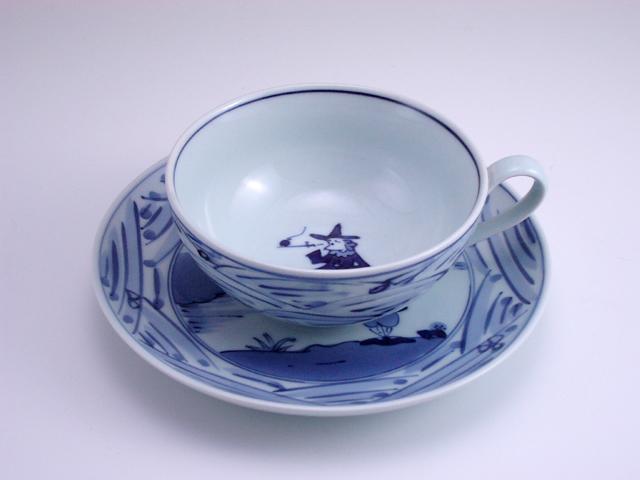 長崎紋カフェオレ碗皿 しん窯 青花