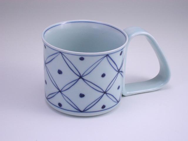 七宝地紋倒れにくいマグカップ(大) しん窯 青花