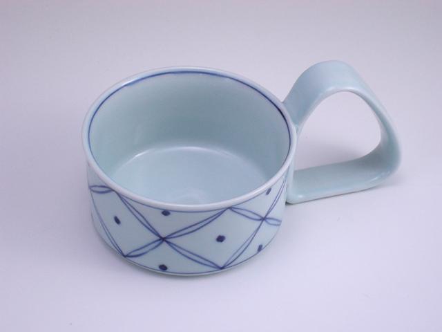 七宝地紋倒れにくいスープカップ(小) しん窯 青花