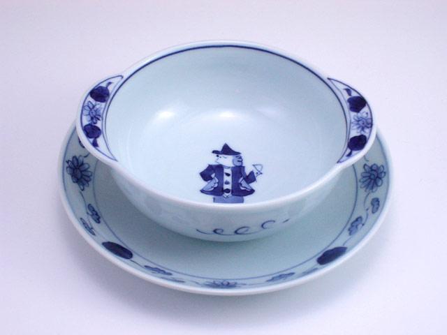 有田焼 青花 グラス異人丸耳付グラタン碗皿