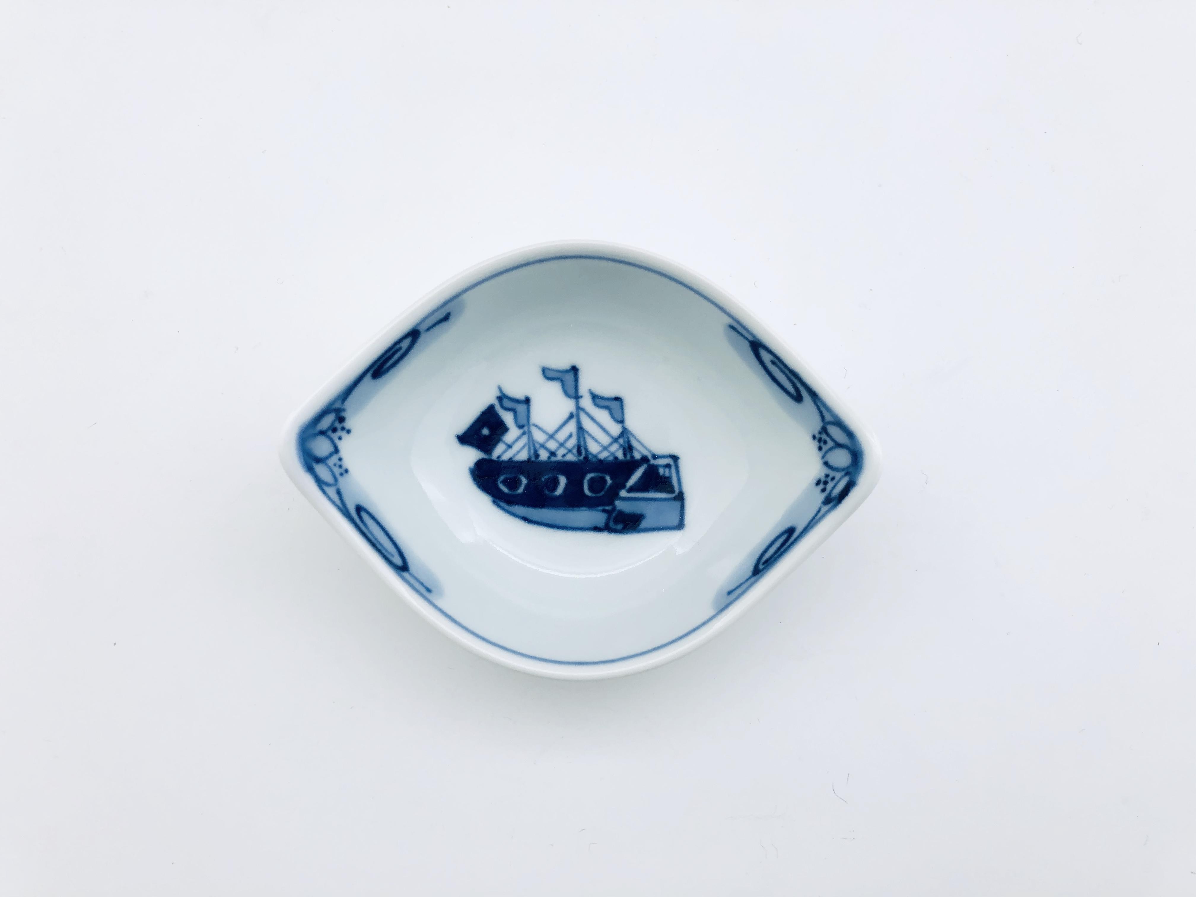 オランダ船舟型小付 しん窯 青花