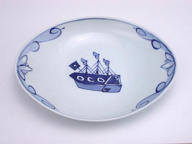 有田焼 青花 オランダ船舟型銘々皿
